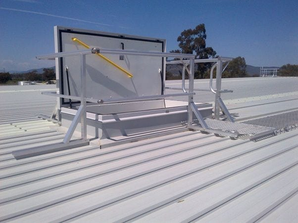 Superior A Fire Rated Access Hatch, With Guardrail Surround For Safe Access To Roof  Area.