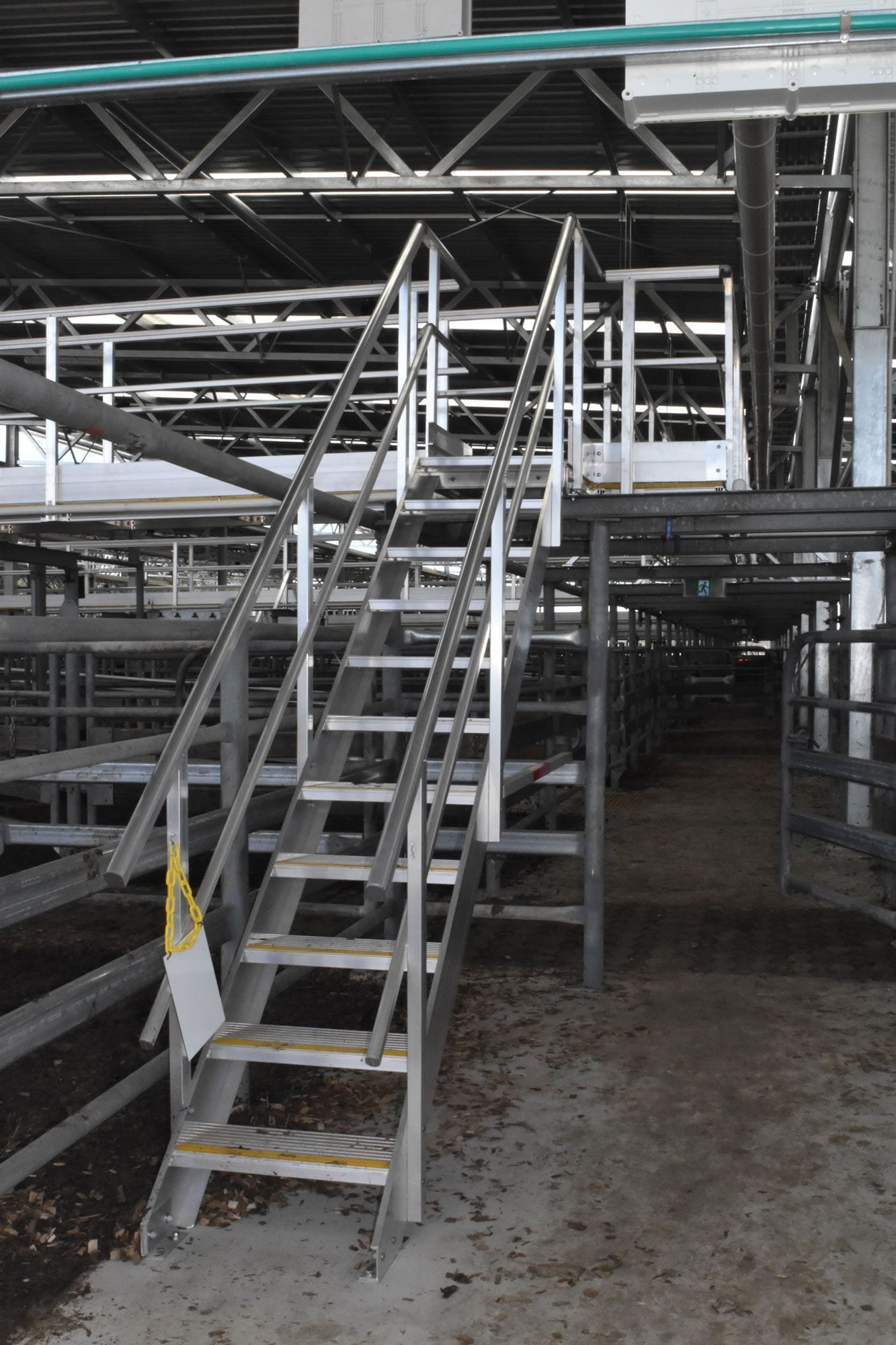 Metal stairway solution for livestock safety