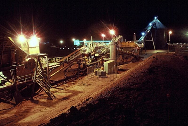 Mining environment during the night
