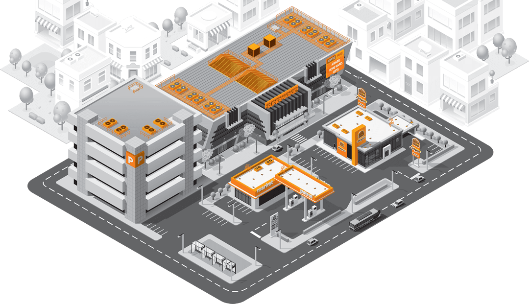 Sketch of retail building with AnchorSafe solutions