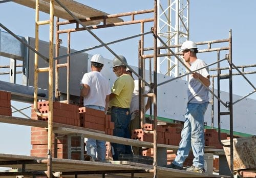 Employees working on rooftop