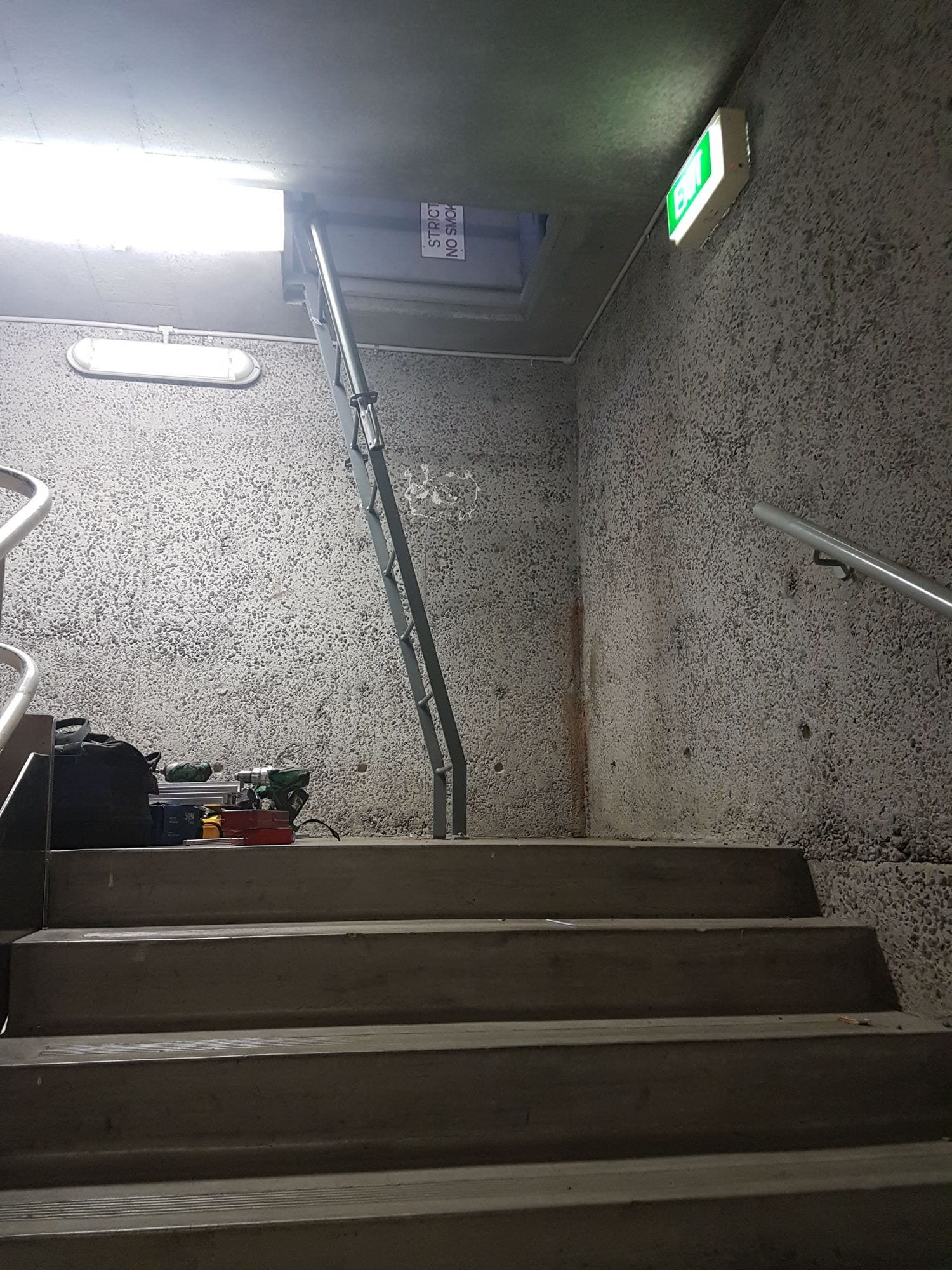 Ladder leading to roof hatch