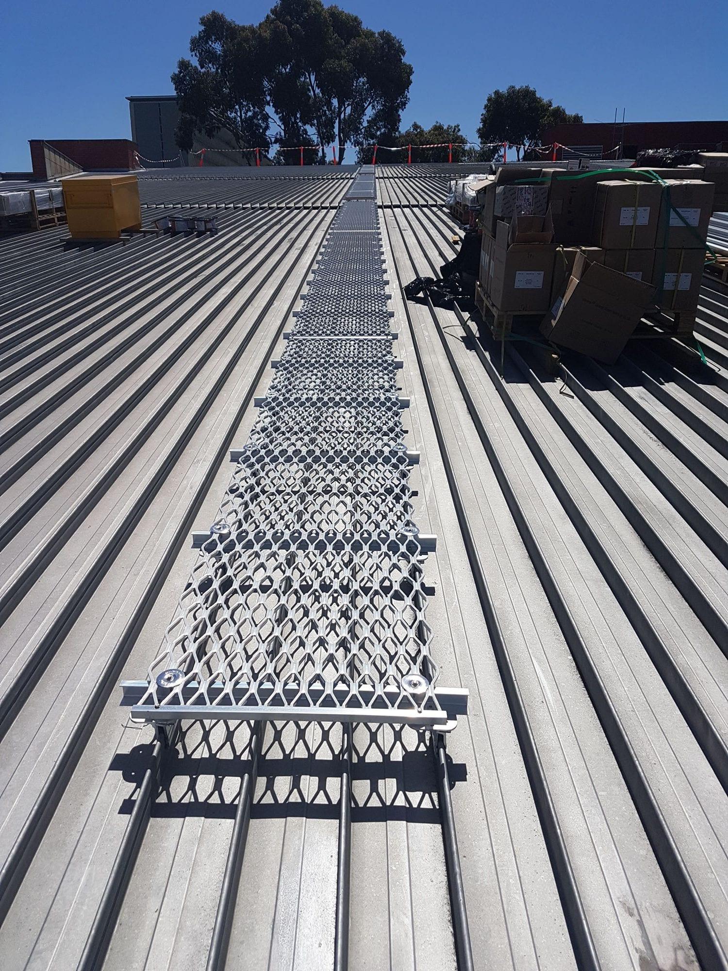 Metal walkway on rooftop