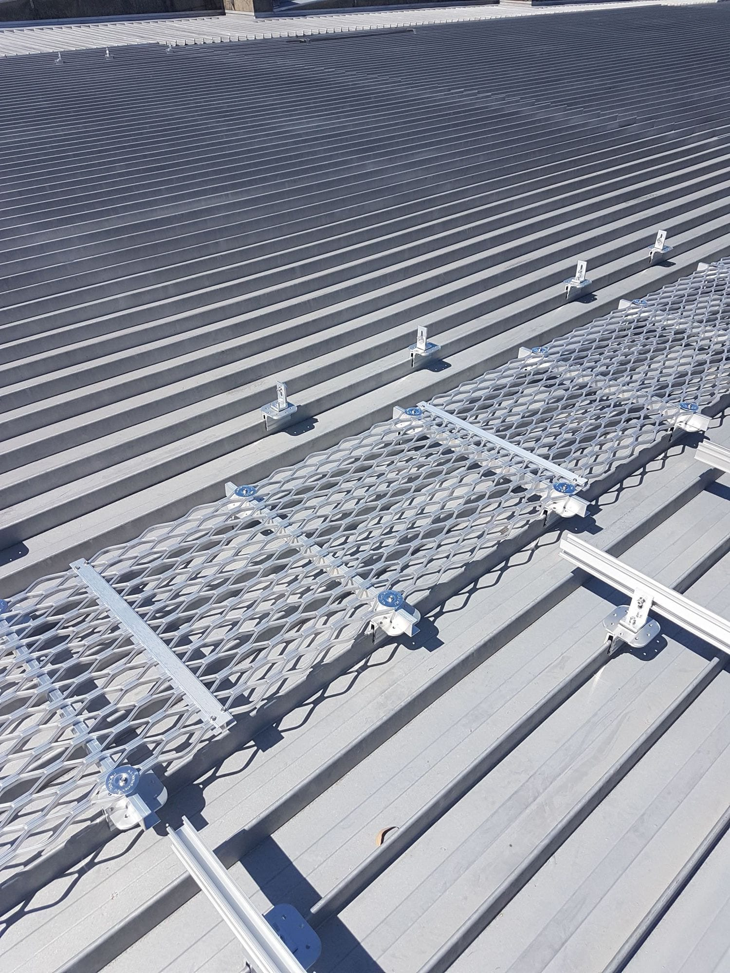 Metal walkway on rooftop