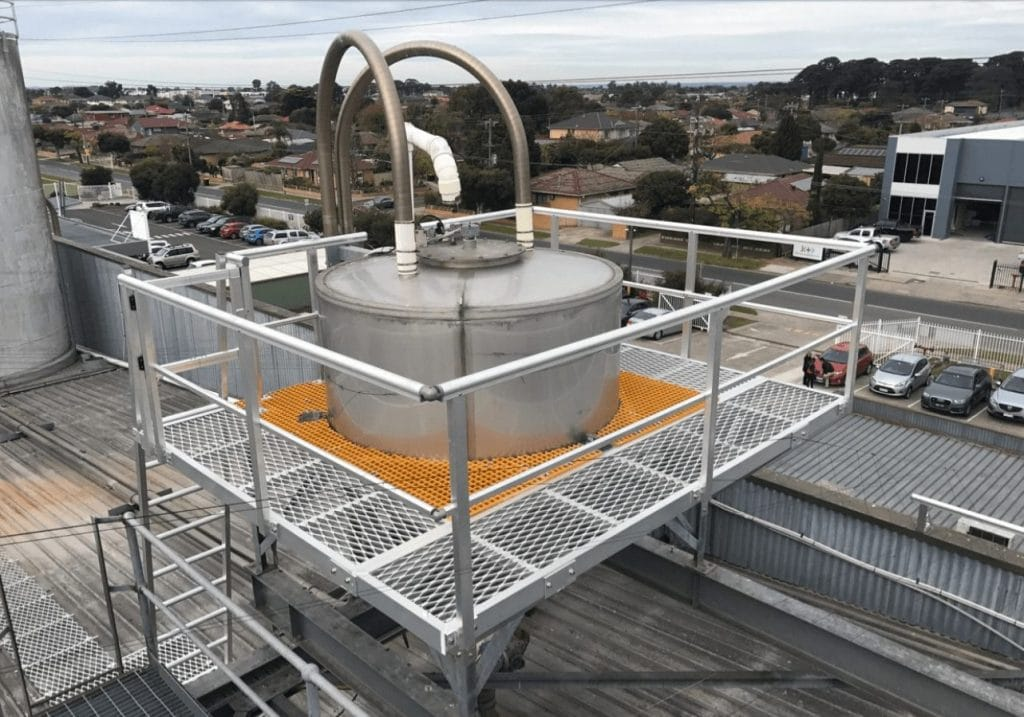 Plant Platform installed to provide safe access to a product hopper situated on the roof.