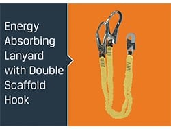 Energy absorbing lanyard with double scaffold hook