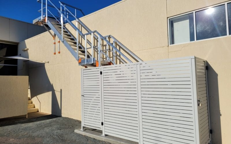 Roof access stairway with secuirty fencing - Rich River Golf 13
