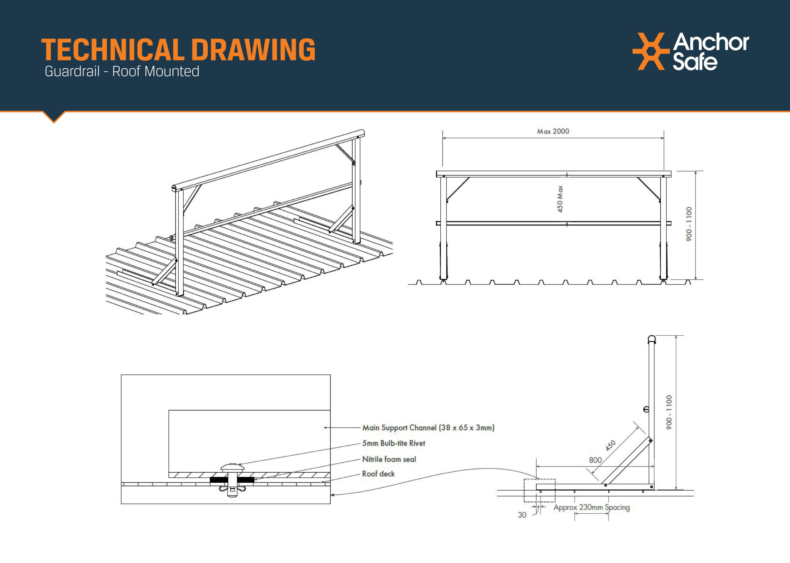 Detailed technical drawing showing sppecific measurements for Anchor Safe 100% compliant roof guardrail systems