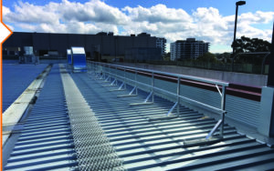 Roof guardrailing with aluminium walkway provide safe and convenient roof access
